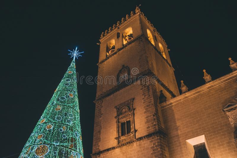 City with Christmas illumination. Badajoz city with Christmas illumination stock photos