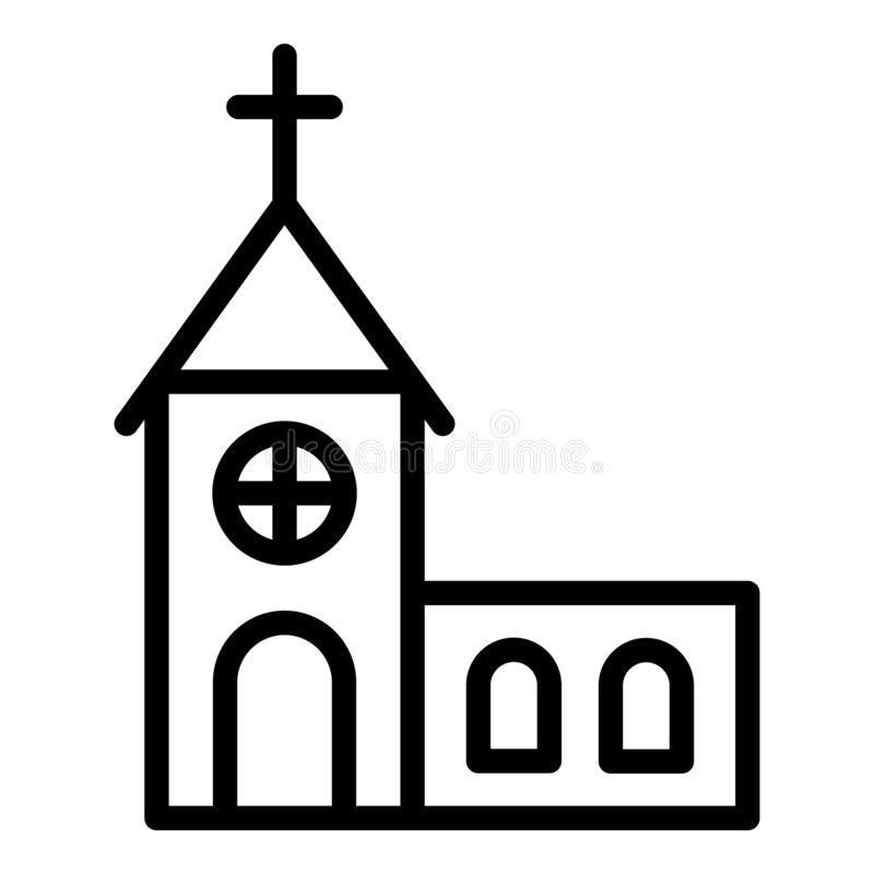 City church icon, outline style vector illustration