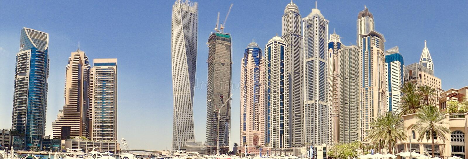 city cityscape dubai building towers twisted building stock image