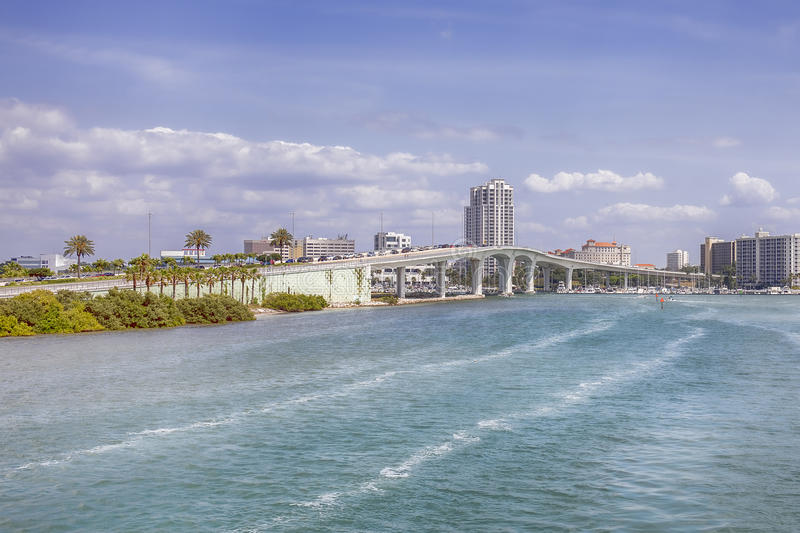 City of Clearwater. The City of Clearwater, with the Clearwater Memorial causeway in the foreground, with the frequent heavy traffic congestion in the direction royalty free stock image