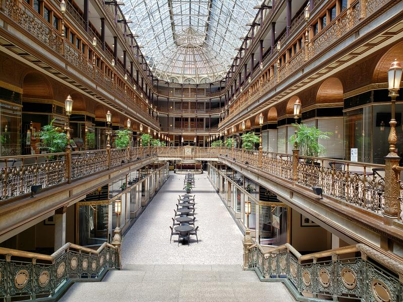 City Cleveland elegant old arcade inside Ohio USA royalty free stock photos