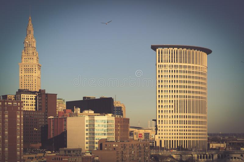 Cityscape of Downtown Cleveland, Ohio stock photos