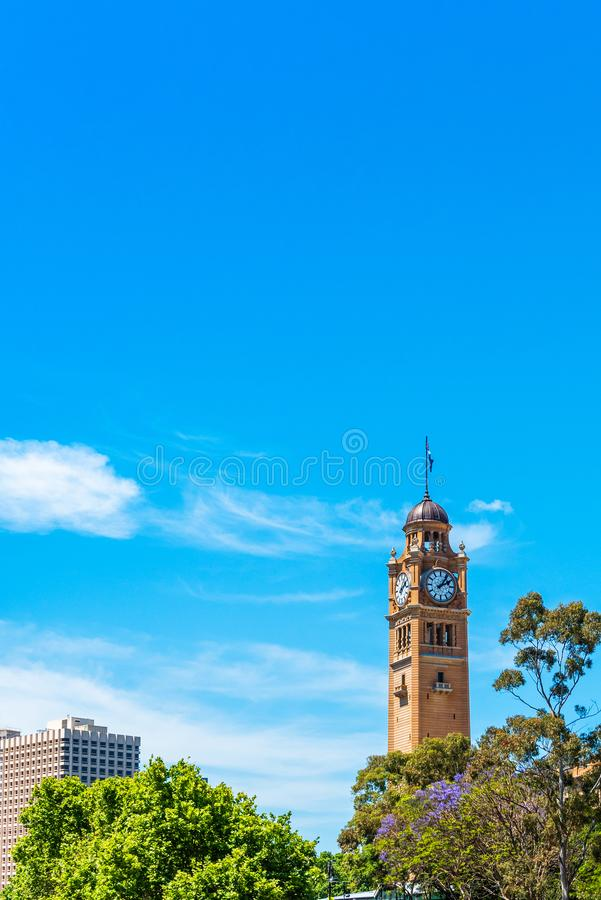 City Clock Tower, Sydney, Australia. Copy space for text. Vertical.  stock photos