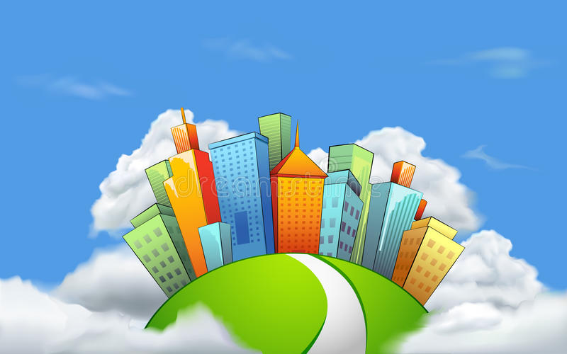 City in Cloud. Illustration of cityscape with tall tower on cloud vector illustration
