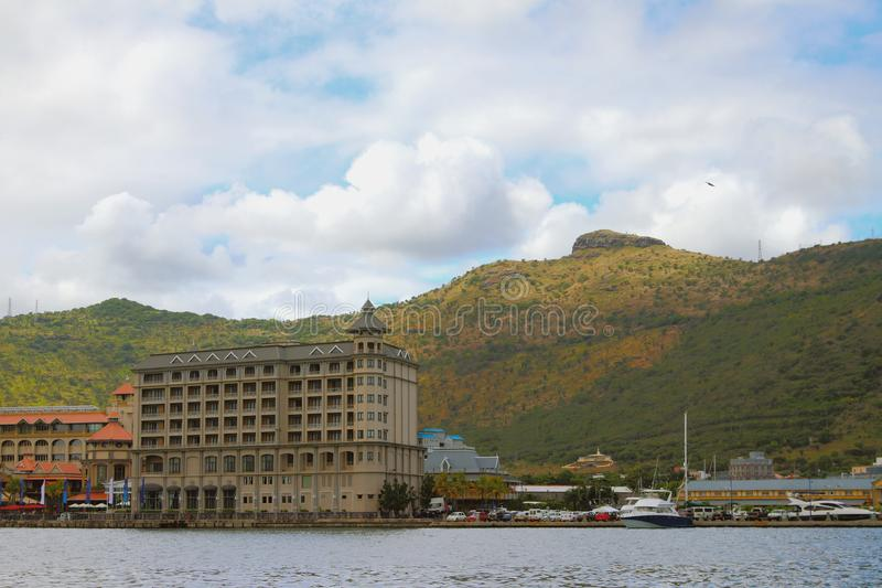City on coast and mountain ridge. Port Louis, Mauritius. 22-01-2017 royalty free stock photography