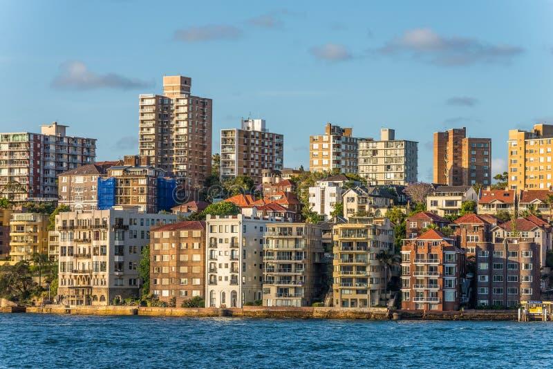 City coastline, Kirribilli surburb of Sydney Australia, copy spa. Beautiful part of Sydney Kirribilli with houses and ocean coastline, suburb of Sydney Australia royalty free stock image