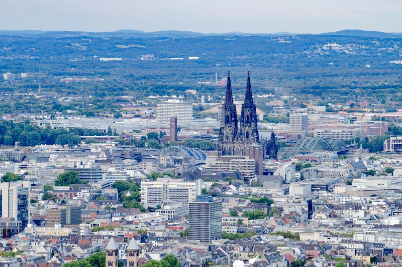 Aerial view Cologne with Cologne Cathedral royalty free stock image