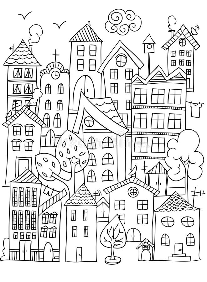 Download City Coloring Page. Stock Vector. Illustration Of City   107139883