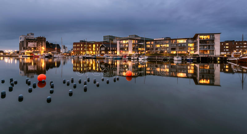 City complex at Odense harbor, Denmark.  royalty free stock image