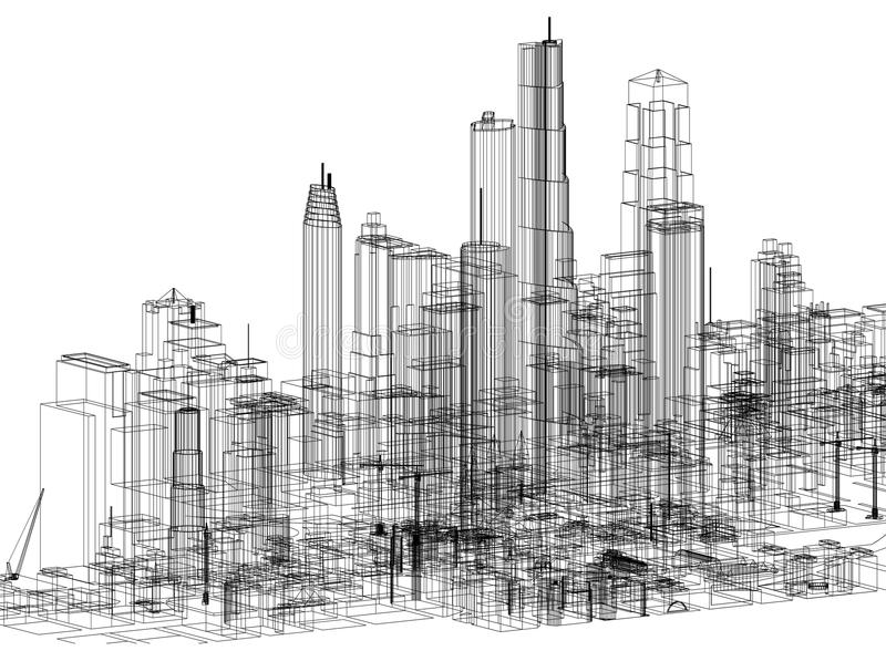 City Concept Architect Blueprint - isolated. Shoot Of The City Concept Architect Blueprint - isolated vector illustration