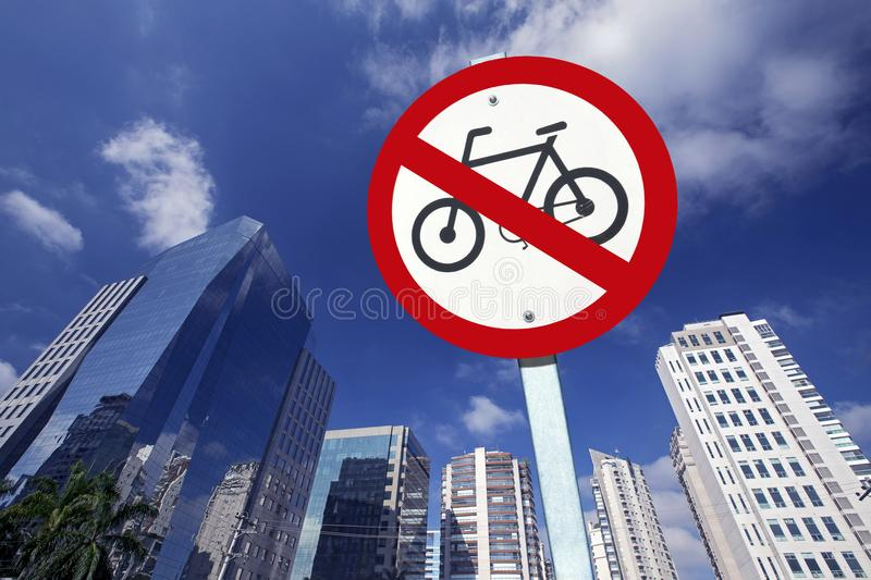 Bicycle traffic ban board between buildings in perspective royalty free stock photography