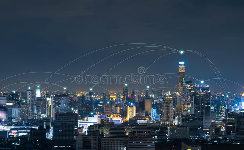 City with conncetion line, technology conceptual, internet globalization concept stock images