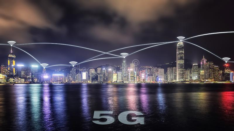 City connected to 5G technology. 2019, 5G technology begins to arrive in the big city stock image