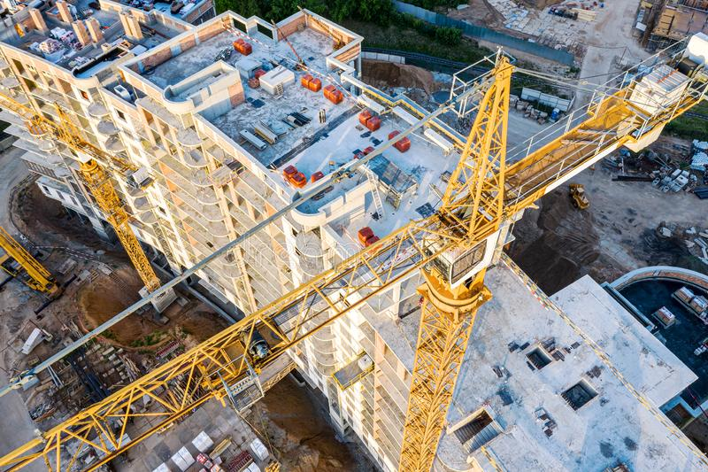 City construction site. aerial top view of apartment building under construction royalty free stock photos