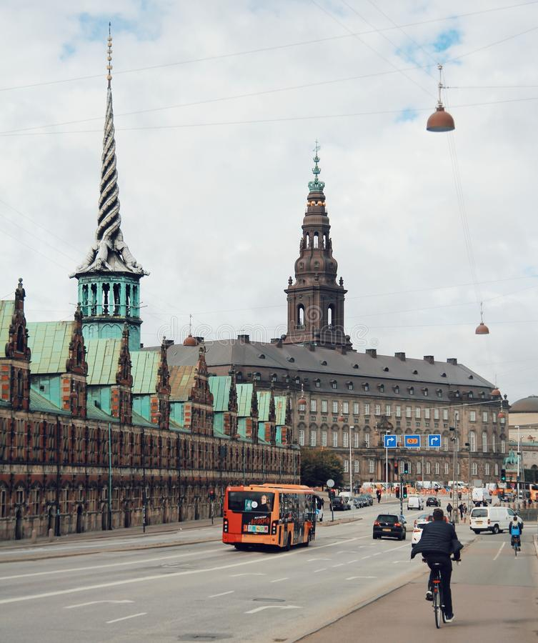 The city of copenhagen, city centre and life style of people royalty free stock photo