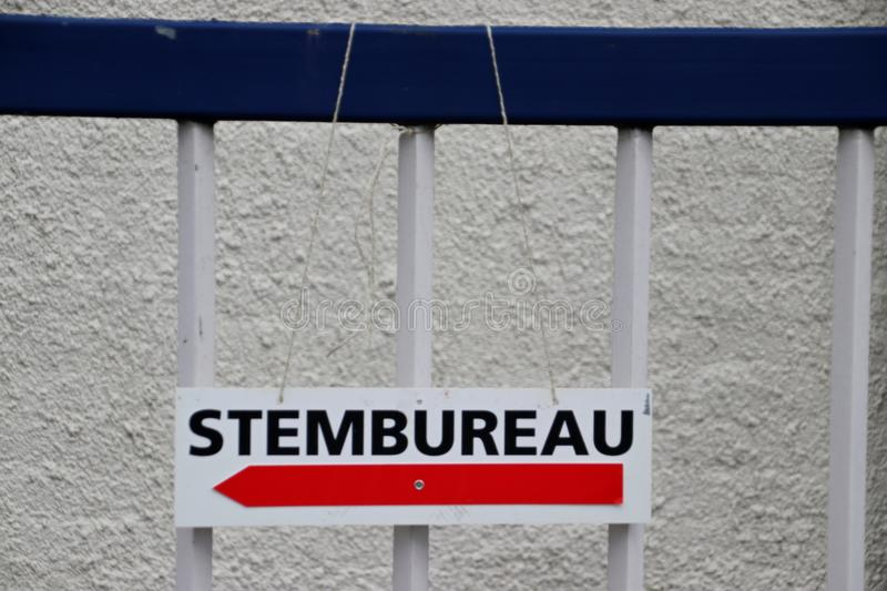 City council elections Netherlands 2018 : sign on a fence calles Stembureau in dutch, stock images
