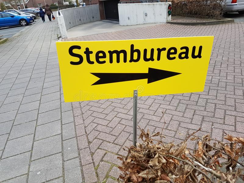City council elections Netherlands 2018 : sign on thje street calls Stembureau in dutch, stock photography