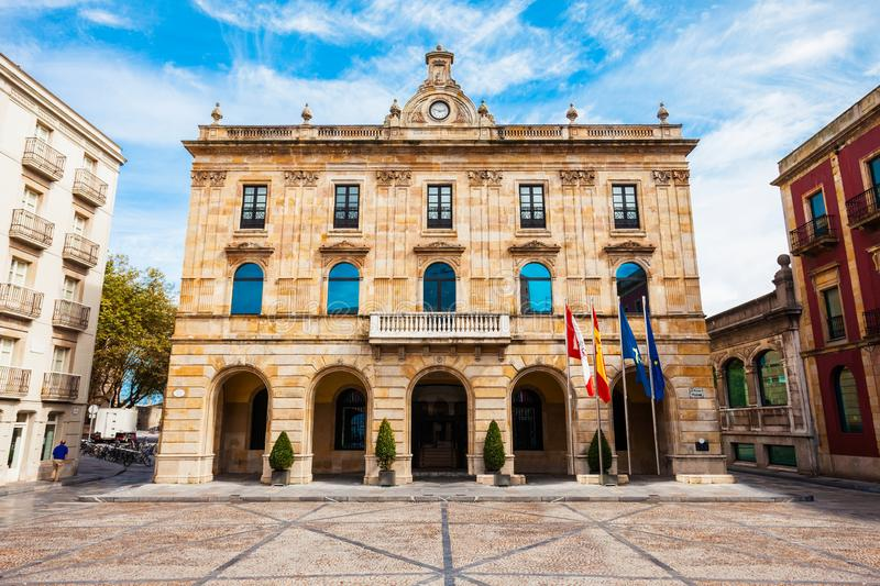 City Council Gijon in Spain. City Council Gijon on the Plaza Mayor or Main Square in the centre of Gijon city in Asturias, Spain stock photography