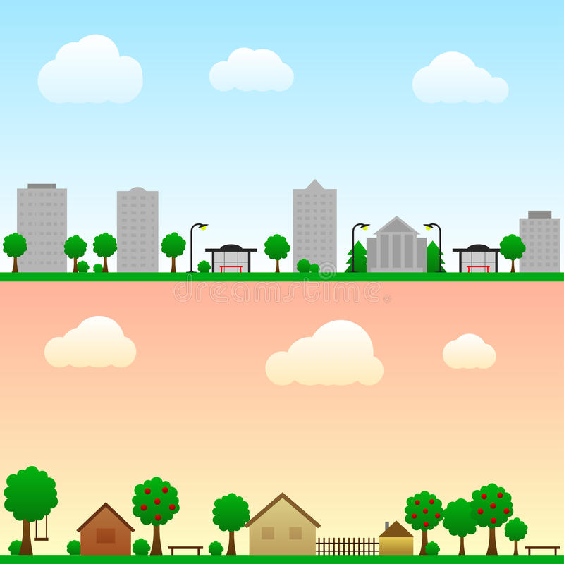 City and countryside stock illustration