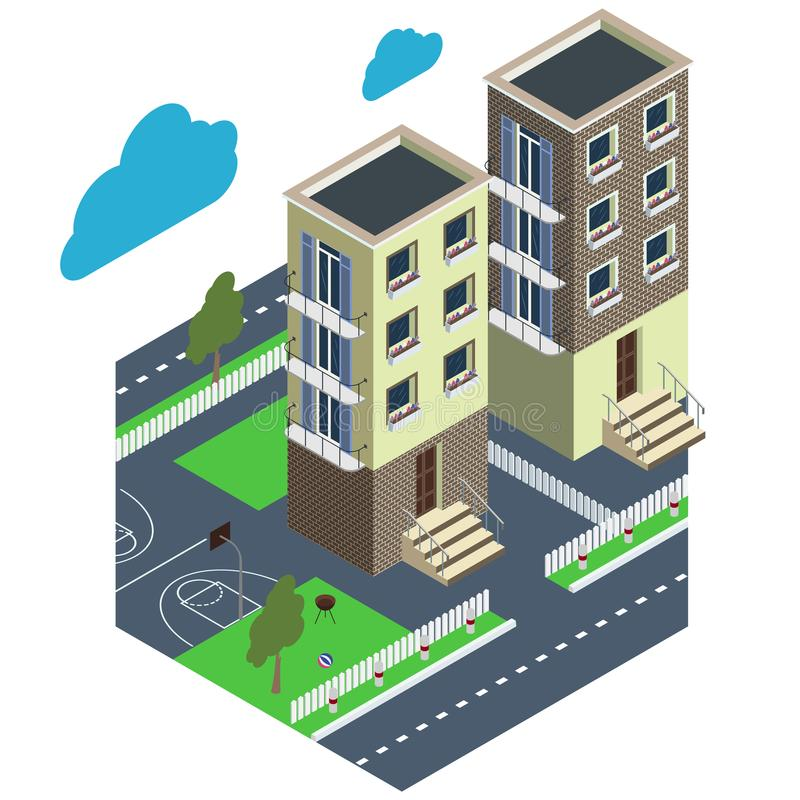 City courtyard. House with a green lawn and white fence. Isometric projection. royalty free illustration