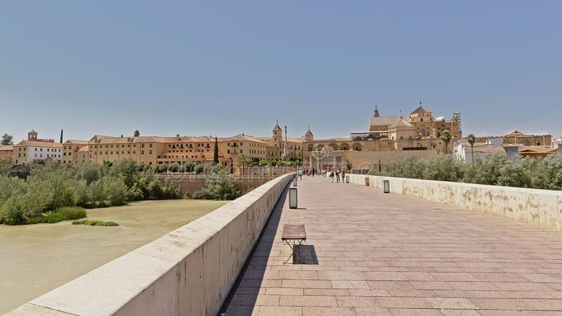 The city of Crodoba as seen from the roman bridge over Guadalquivir river. The city of Crodoba with it`sMosque cathedral as seen from the other side of the roman royalty free stock images