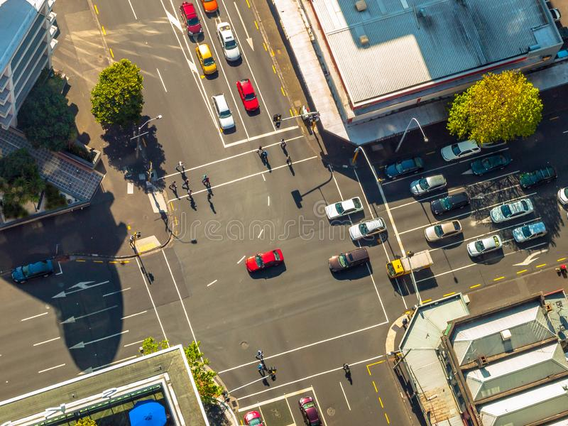 City crossroad scene from above stock photos