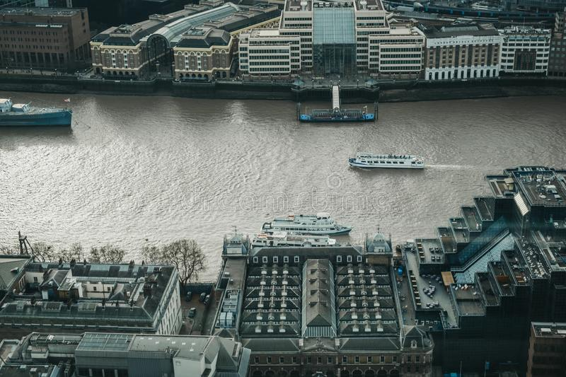 City cruise boats on the Thames, London, UK, view from above stock image