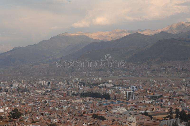 City of Cusco, Peru in mountains. Aerial view of Cusco, Peru in valley of Andes Mountains stock image