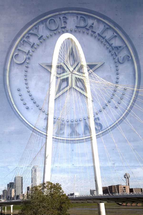 Download City Of  Dallas TX Sign And  Margaret Hunt Hill Bridge Editorial Photography - Image: 63456542