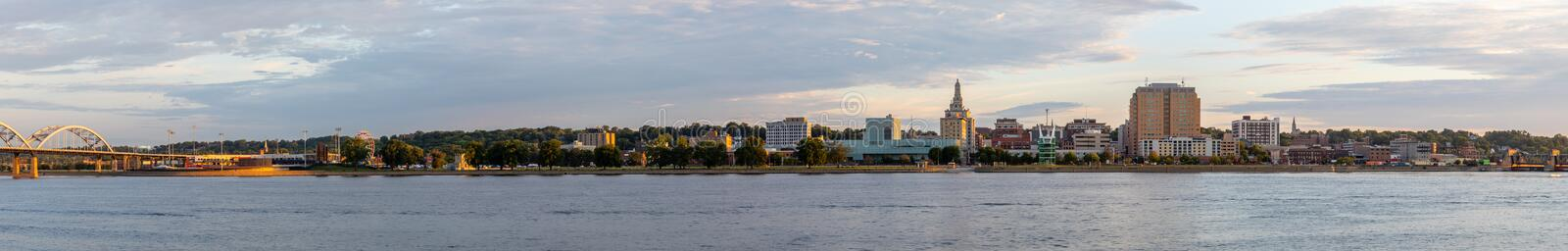 The City Of Davenport. Davenport, in the state of Iowa, United States Of America, as seen across the Mississippi River stock photo