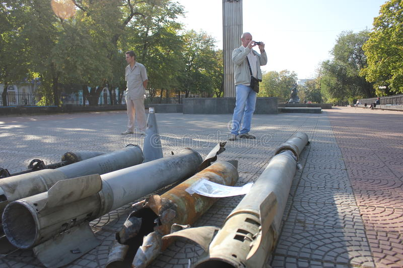 City day in Luhansk. Ukraine. War in the east stock photography