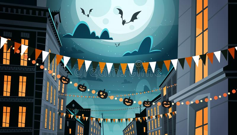City Decorated For Halloween Celebration Home Building With Pumpkins, Garlands Holiday Night Party Concept royalty free illustration