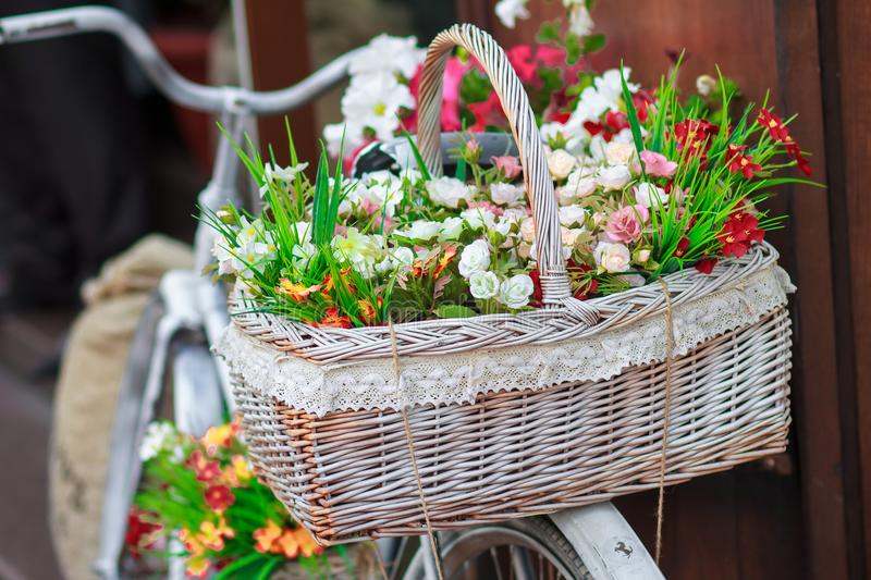 City decoration flowers on the bicycle royalty free stock images
