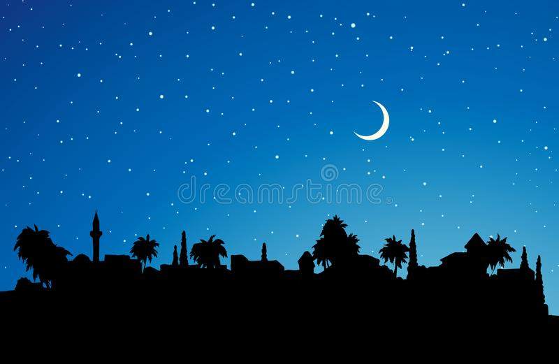City in a desert. Vector drawing. Biblical middle east antique turkey orient palm tree dusk district scene with old dwelling. Dark black drawing picture in vector illustration