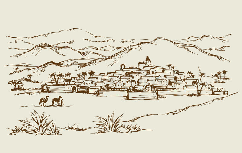 City in a desert. Vector drawing. Old eastern scenic view with abode edifice. Freehand outline ink hand drawn picture sketchy in art retro doodle contour graphic vector illustration