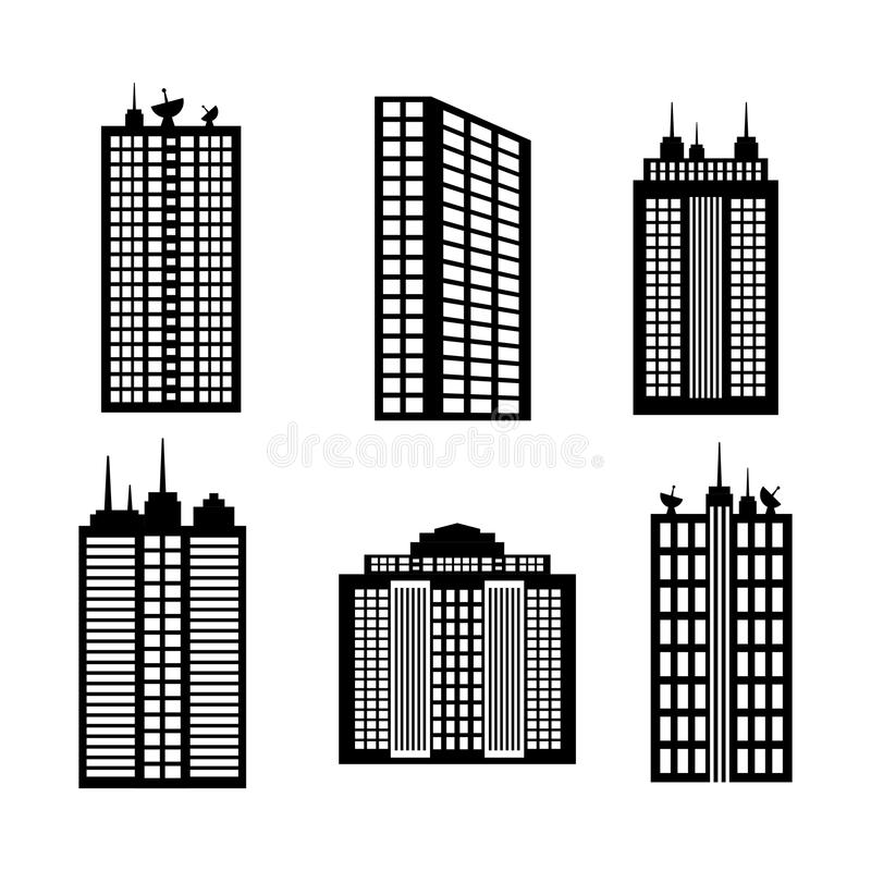 City design. Building icon. Black and white illustration , vector vector illustration
