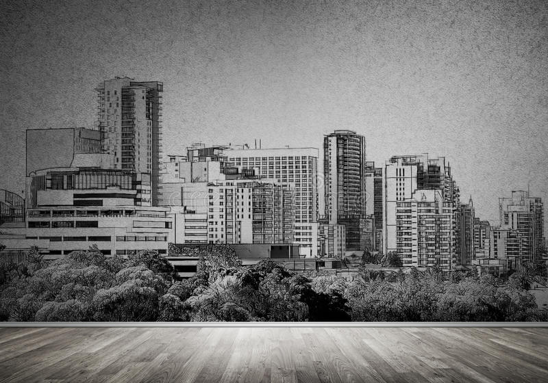 City design on wall. Silhouette of modern city landscape drawn on concrete wall royalty free stock photos