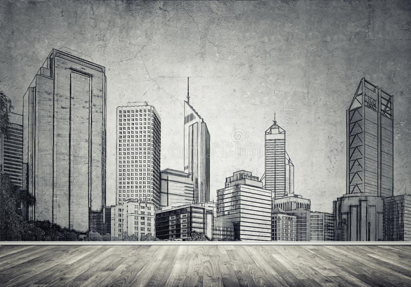City design on wall. Silhouette of modern city landscape drawn on concrete wall royalty free stock image