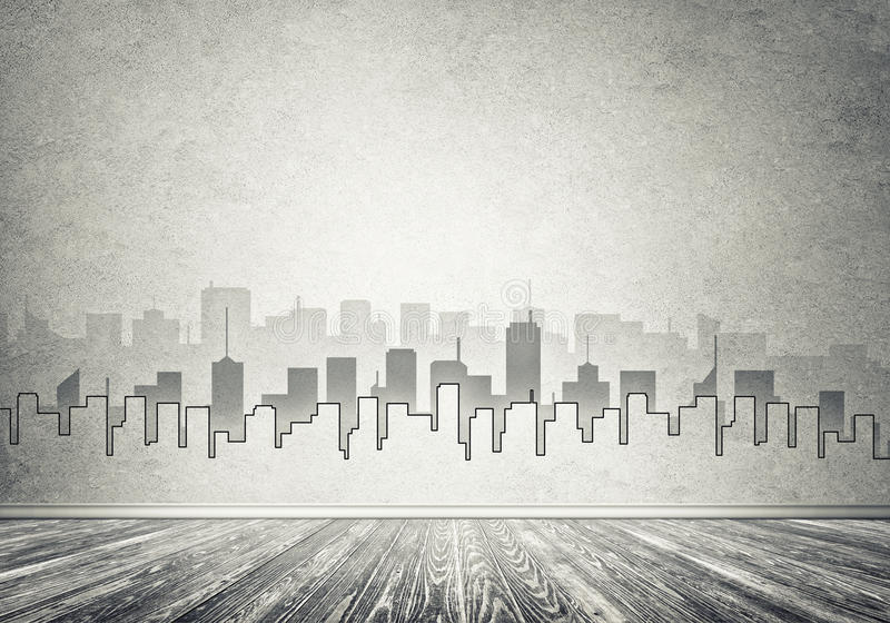 City design on wall. Silhouette of modern city landscape drawn on concrete wall royalty free illustration