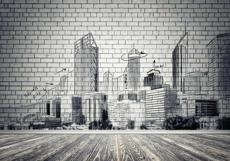 City design on wall. Silhouette of modern city landscape drawn on concrete wall royalty free stock photography
