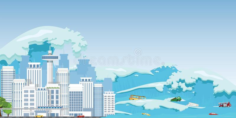 City destroyed by Tsunami waves. Tsunami tidal wave washing through a city street pushing cars out of the way, Natural disasters vector illustration stock illustration
