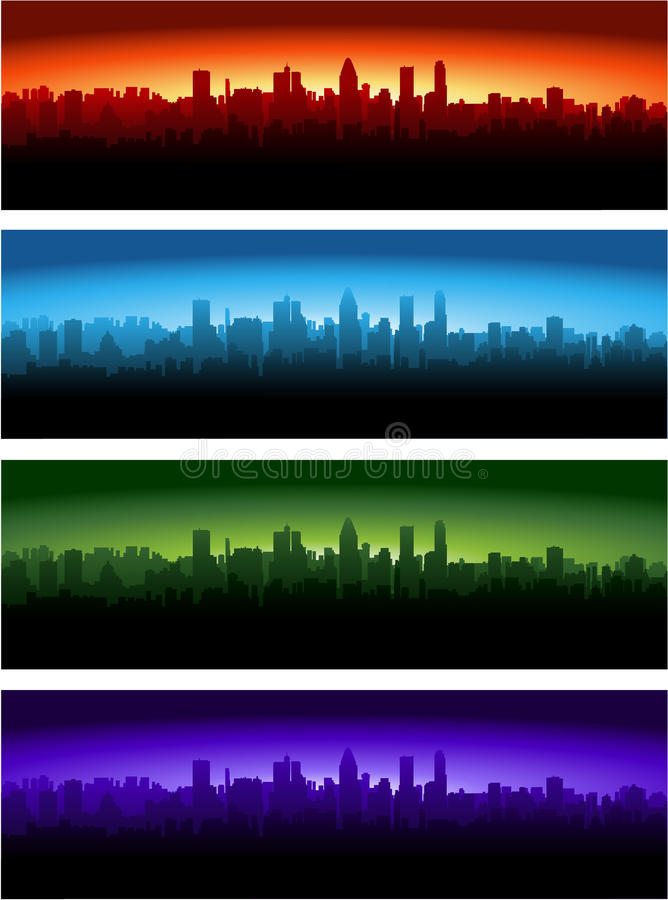 City at different time of the day royalty free illustration
