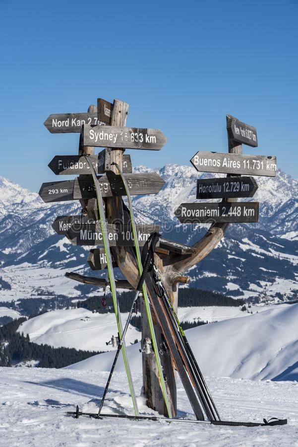 City distance sign alps background Austria royalty free stock image