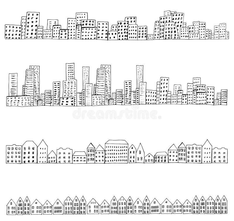 City doodle line. Set of 4 borders of european, dutch, urban houses. Hand drawn doodle city street sketch. Ink illustration. Vector royalty free illustration