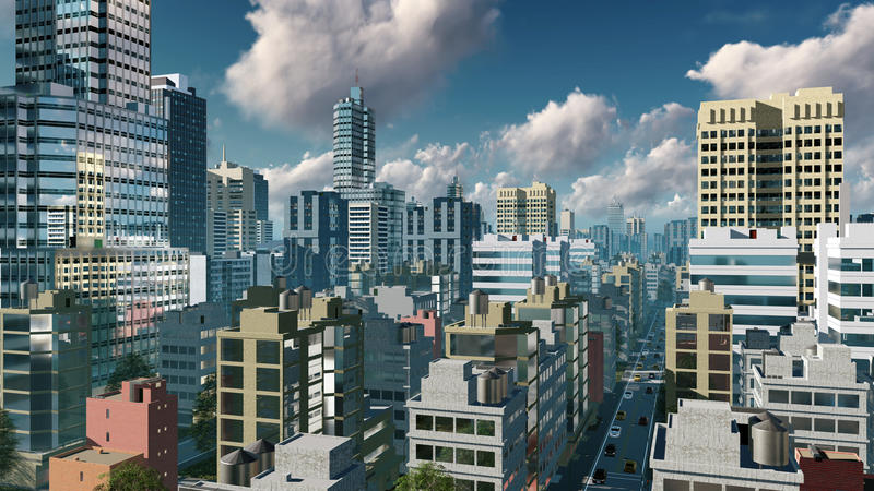 City downtown at daytime aerial view. Aerial view of abstract big city downtown with modern high rise buildings skyscrapers and busy streets at daytime. 3D vector illustration