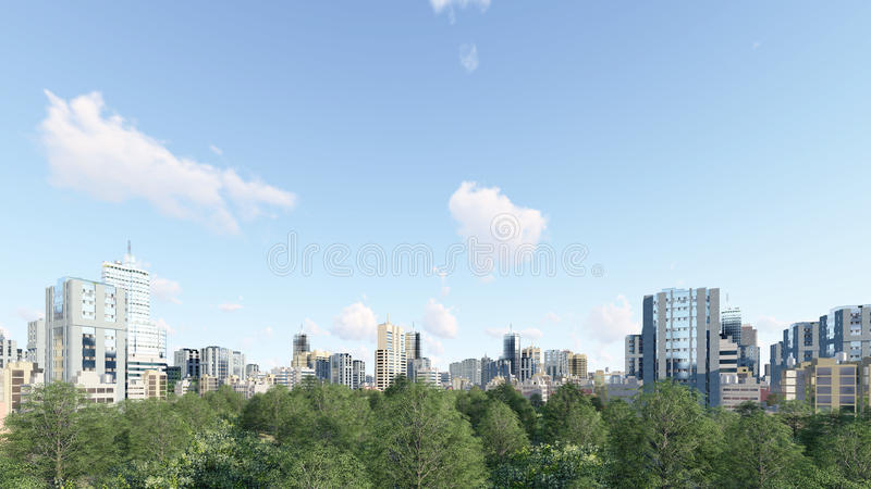 City downtown with park zone at daytime. Modern high rise office buildings skyscrapers and green park zone at city downtown against cloudy sky at daytime. 3D royalty free illustration