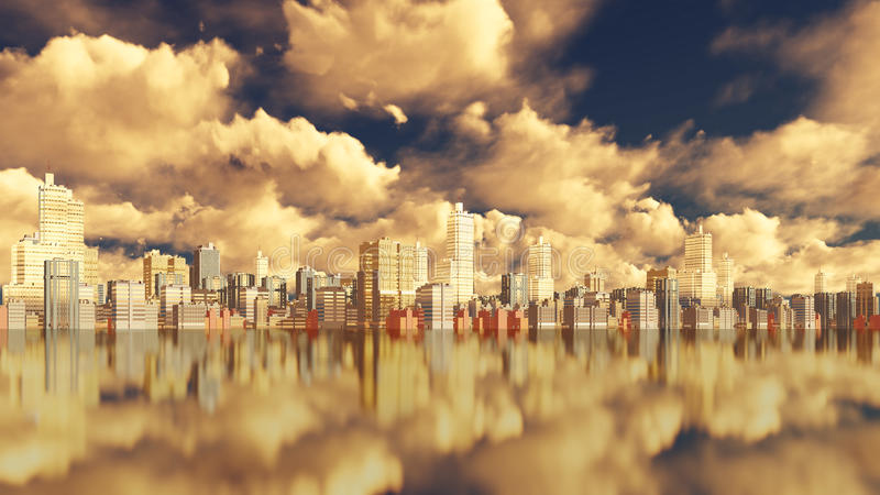 City downtown view from water stock illustration