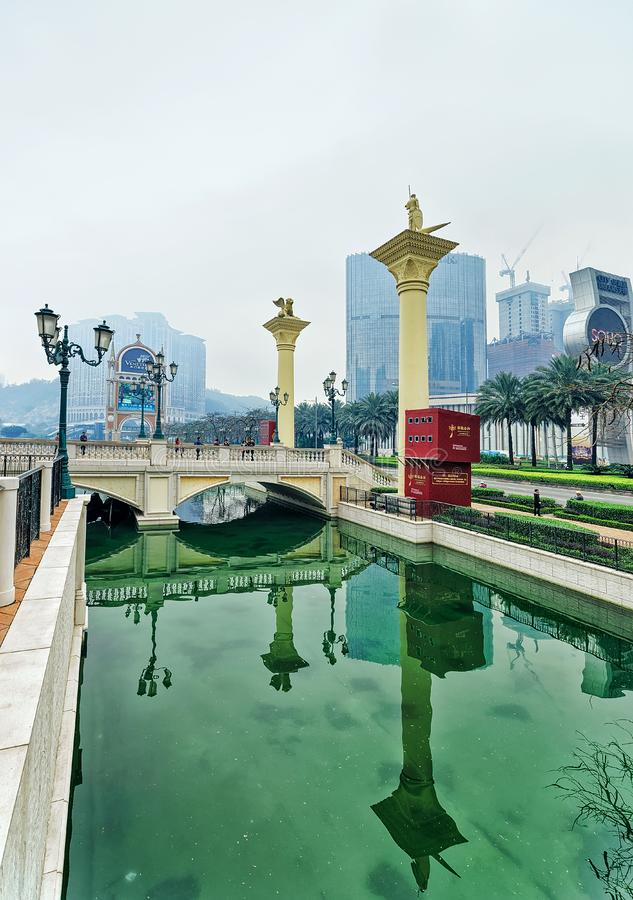City of Dreams and Canal of Venetian Macau Casino hotel stock images