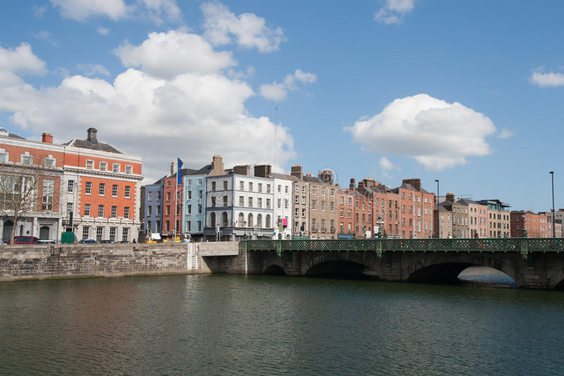 City of Dublin Cityscape. City of Dublin skyline in Ireland, Grattan Bridge on River Liffey, cityscape royalty free stock photo