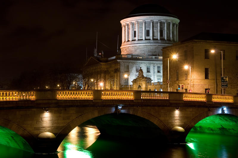City of Dublin at Night in Ireland royalty free stock images
